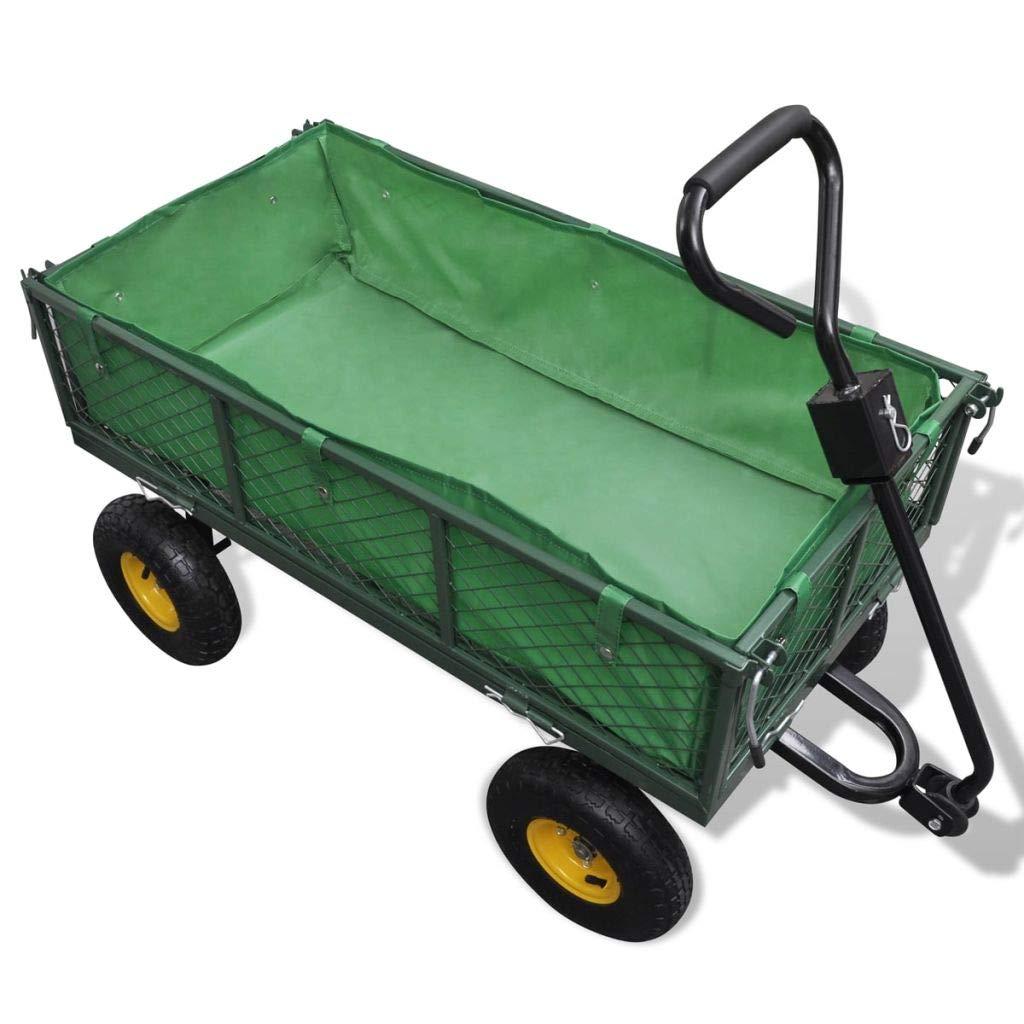 Wakects Carro de jardín, Carro de Acero con 4 Ruedas, Capacidad 350 kg, Carretilla de jardín, Carro Remolque de jardín con Bolsa extraíble, 106 x 52 x 58 cm: Amazon.es: Hogar