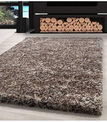 Carpettex Teppich Shaggy Tapis Chiné Qualité Hirsute Salon Verset. De Couleur et de Tailles - Beige-Taupe-Crème, 160x230 cm