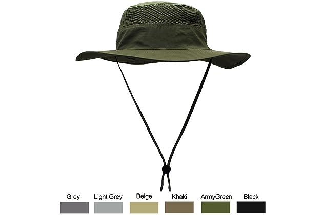 3bbc69f7 WELKOOM Sun Hat Men Women, Wide Brim UPF 50 UV Protection Beach Cap,  Breathable Outdoor Boonie Hats Adjustable Drawstring Design, Perfect  Hiking, Fishing, ...