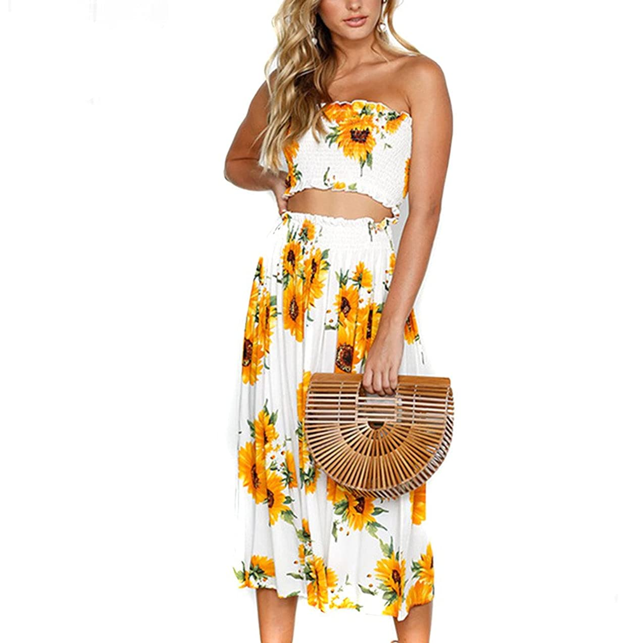 【MOHOLL】 Women's Floral Crop Top Maxi Skirt Set 2 Piece Outfit Dress bqwrjjqu891