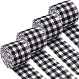 URATOT 4 Rolls White and Black Plaid Burlap Christmas Wrapping Ribbon Gingham Christmas Tree Bows Wired Plaid Ribbon for Crafts Decoration, Christmas Wreaths Craft (White and Black, 6.3cm x 6m)