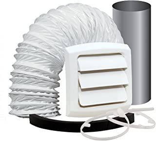 Dundas Jafine EXWTZW Bathroom Fan Vent Kit with, Wall Style, 4 inch x 5' Vinyl Duct