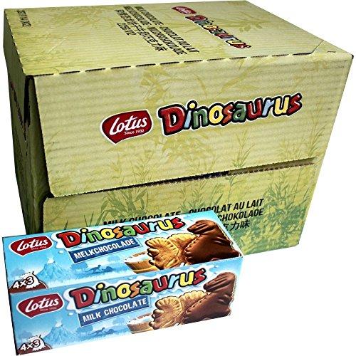 Lotus Dinosaurus Chocolat au Lait 12 x 225g Packung (Dinosaurierkekse auf Vollmilchschokoladenschicht)