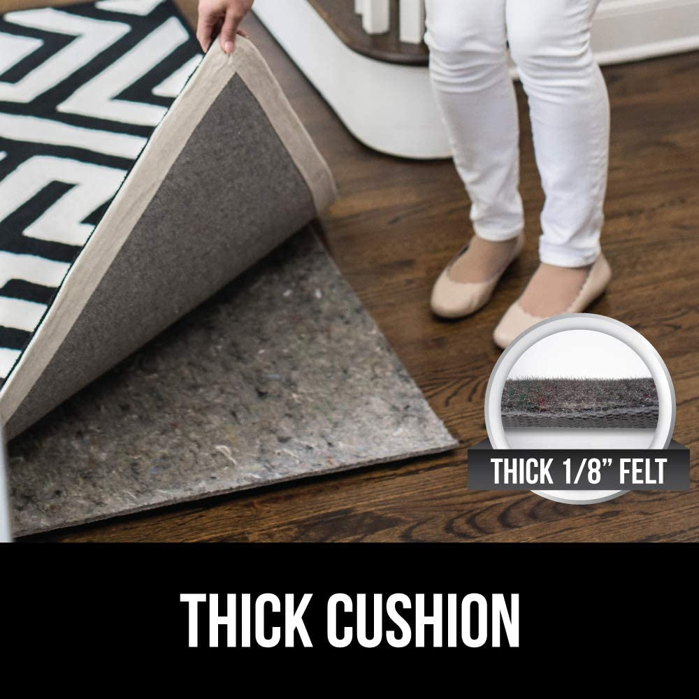 for Hardwood and Hard Floor Gorilla Grip Original Felt and Rubber Underside Gripper Area Rug Pad .25 Inch Thick Protects Floors 3x5 FT Plush Cushion Support Pads for Under Carpet Rugs