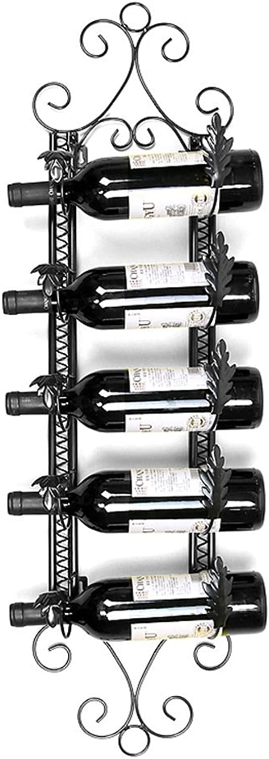 Red Wine Shelf Wrought Iron Black Bronze Wall Hanging for Most Wines 5 Bottles of Wine European Style Modern Fashion (color   Bronze) (color   Black)