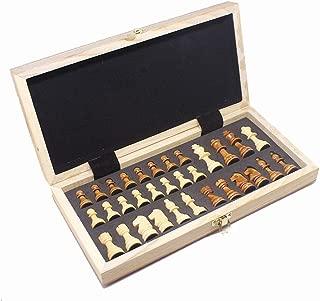 チェス チェスセット折りたたみ磁気木製標準チェスゲームボードセットで木製の細工された作品とチェスの収納スロット 娯楽ゲーム (色 : As picture, サイズ : 29.5*29.5CM)