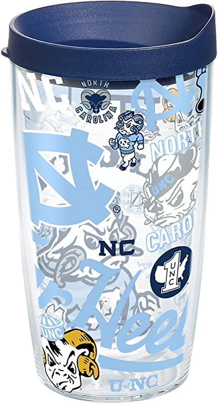 Tervis 1258087 North Carolina Tar Heels All Over Tumbler With Lid 16 Oz Clear