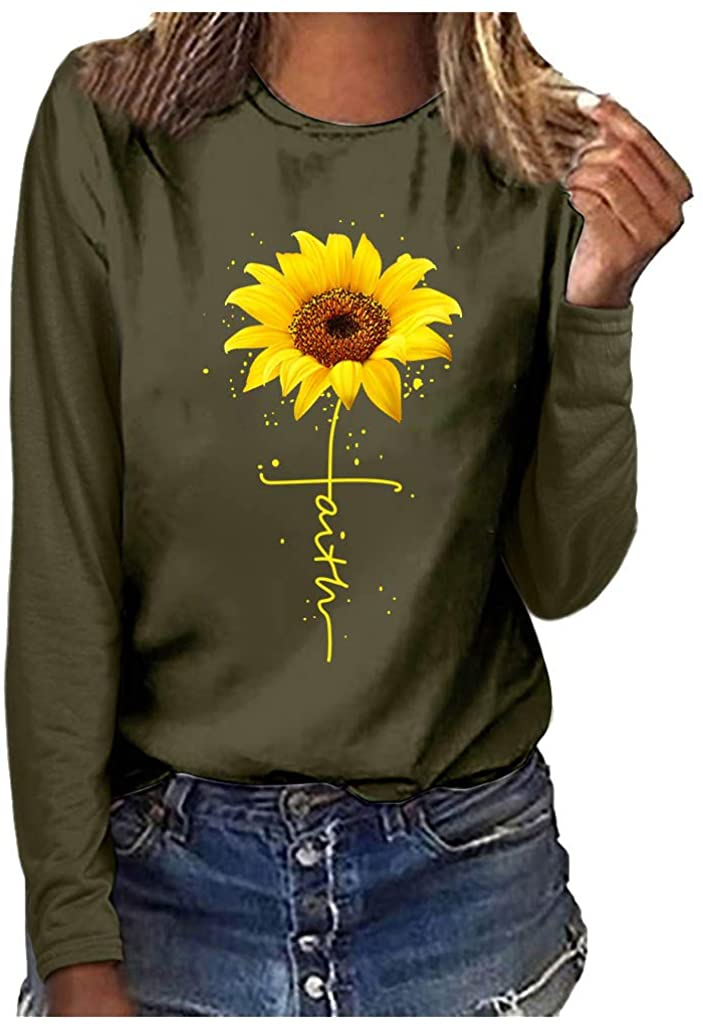 WUAI Womens Long Sleeve Graphic T Shirt Plus Size Sunflower Print Cute Funny Graphic Tees Casual Cotton Tee Tunic Tops