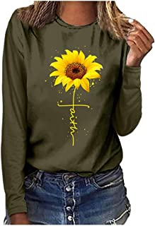 LONGDAY Sunflower Print Long Sleeve Crew Ne Fit Casual Sweatshirtr Shirts Loose Tunic Blouse