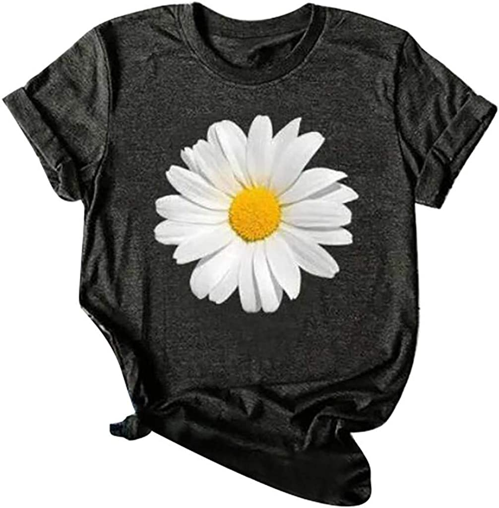 Forwelly Women Teen Girl T Shirt Sunflower Graphic Plus Size Tee Casual Summer Short Sleeve Top Blouse