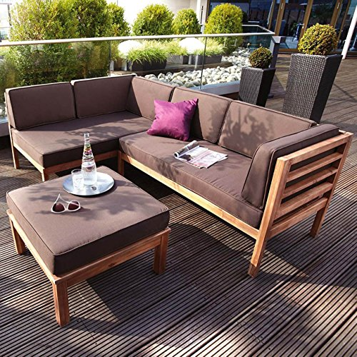 OUTLIV. Loungemöbel Holz Odense Loungegruppe 3-teilig braun Akazie Teak-Look Loungemöbel Outdoor Gartenlounge Set