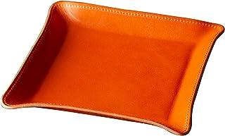 [アム デ マス] 小物トレー 栃木レザー 本革 日本製 卓上 小物入れ アクセサリー ハンドメイド シンプル 軽量 TY-006 (Mオレンジ)