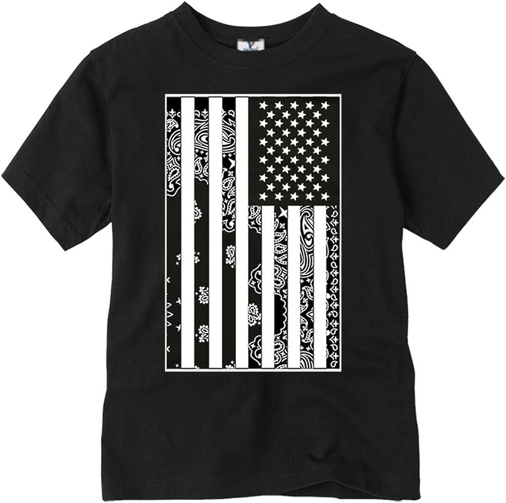 CaliDesign Boy's USA Flag T-Shirt Bandana Urban Wear American Kids Tee