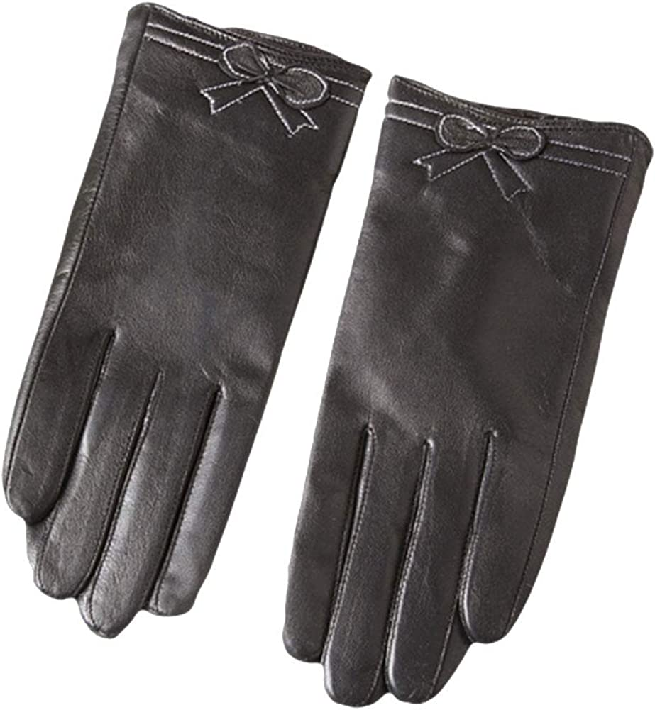 SK Studio Women's Nappa Genuine Leather Wool Lined Touchscreen Texting Gloves Driving Gloves Black Winter Warm Gloves