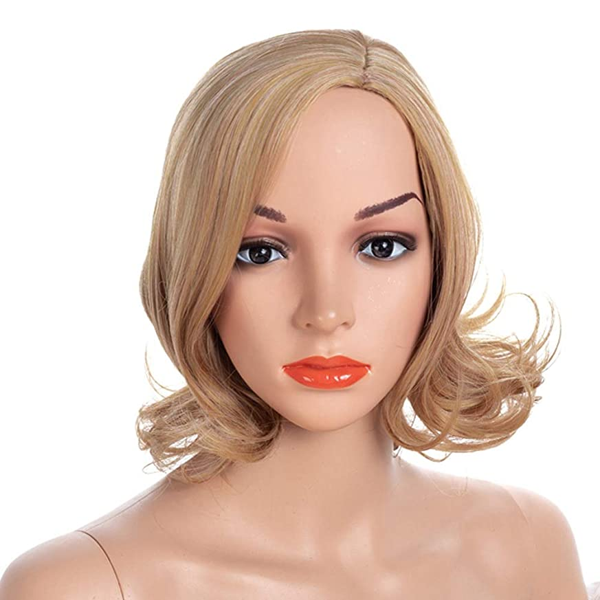 下位帽子可聴YOUQIU 女子ショートカーリーブロンドのかつらメッシー美容ショートウィッグCospalyパーティーウィッグ (色 : Blonde, サイズ : 40cm)