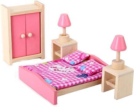 Doll House Bedroom Furniture Set Bed + Table + Lamp + Closet---Rancom Blanket