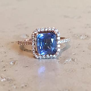 Blue Sapphire Cushion Engagement Ring- Rose Gold Sapphire Engagement Ring- Halo Sapphire with Diamond Promise Ring- Solitaire Sapphire Ring