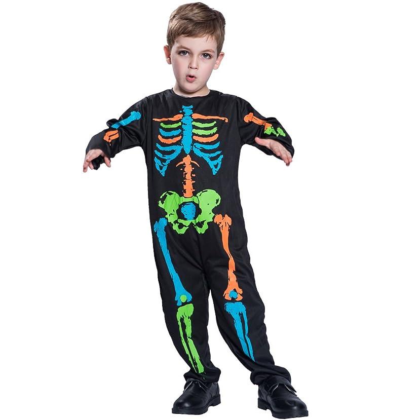 連帯目に見えるラショナルコスチューム スケルトン 髑髏 ジャンプスーツ 子ども用 ハロウィン  着ぐるみ (S)