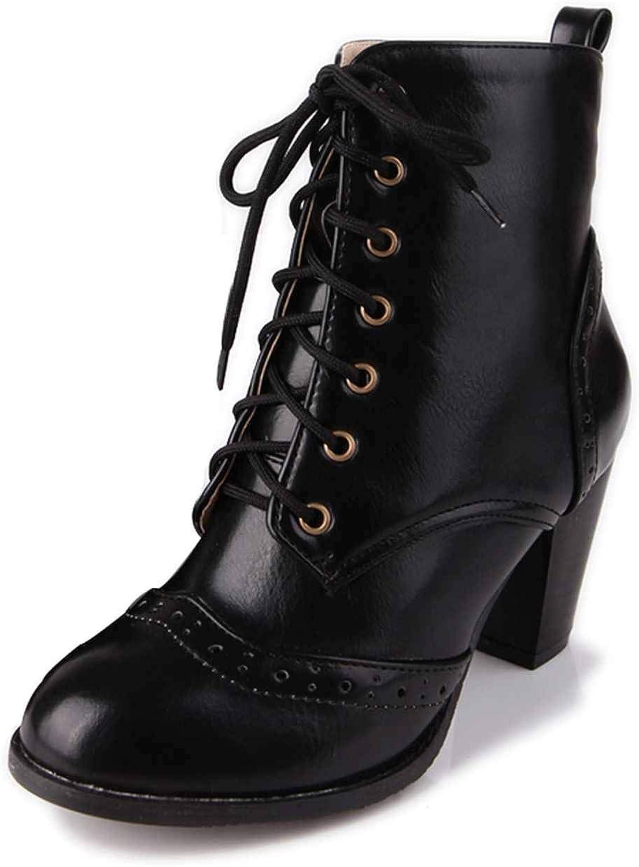 SmarketL High Heels British Style Women Ankle Retro Autumn Winter Boots Size 34-48,