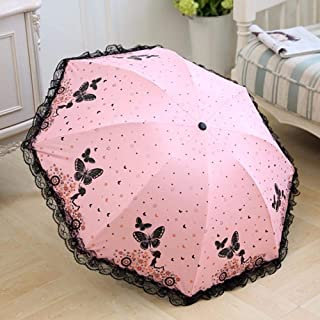 Rain Mini Folding Umbrella Modern Fashion Womens Umbrella Female Lace Butterfly Parasol Gift Zzbiao (Color : Pink)