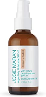 Josie Maran Argan Daily Moisturizer SPF 47 Protect and Perfect - Lightweight, Non-Greasy, and Chemical-Free Sunscreen Protects from Sun Damage (60ml/2.0oz)