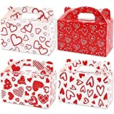 24pcs Valentine's Day Treat Gable Boxes, Cardboard Hearts Paper Mini Goody Bag Cookie Holder Classroom Crafts Supplies Party Favors