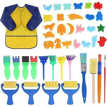 puseky 42pcs kit di pittura per bambini apprendimento precoce per bambini set di pennelli per pittura spugna kit di pittura per bambini kit di disegno per apprendimento precoce fai da te