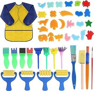 Early Learning - Juego de pintura para niños, 42 pinceles de esponja para pintar con delantal