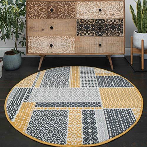 The Rug House Milan Color Ocre Amarillo Mostaza Gris Beige en Cuadros de Patchwork Tradicional Alfombra de salón el circulo 120cm