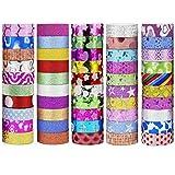 aufodara Juego de 50 rollos de cinta adhesiva decorativa Washi con purpurina, para scrapbooking, manualidades