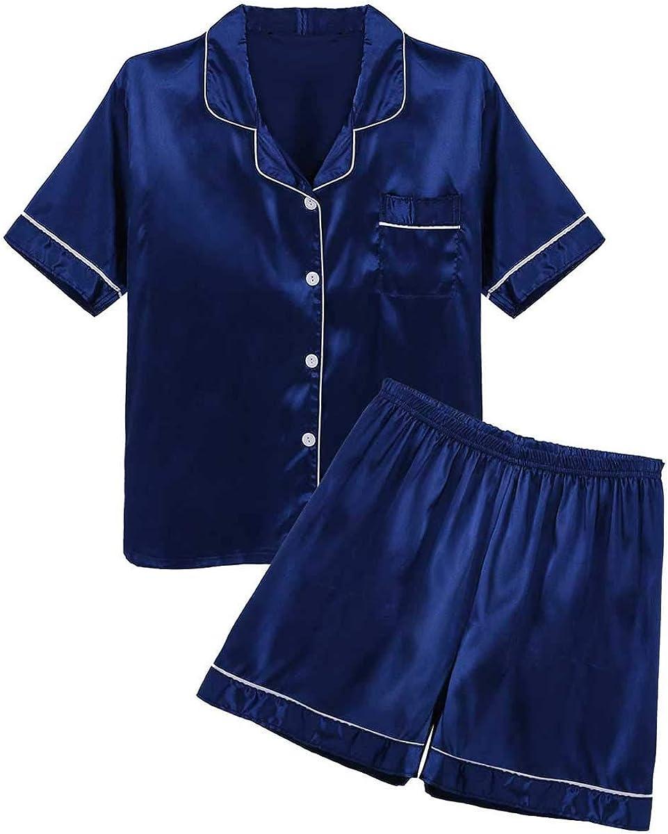 Agoky Men's Classic Silky Satin Pajama Set Short Sleeves Shirt with Boxer Shorts Sleepwear Loungewear