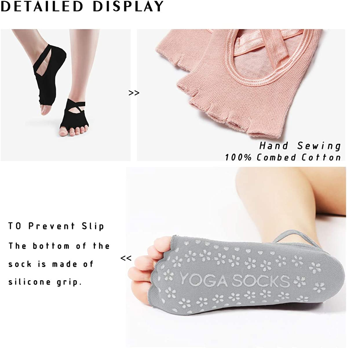 No Show Socks Women Pilates Socks Grip Socks Non Slip Barre Socks for Womens URONNFIT Yoga Socks