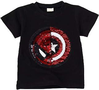Tsyllyp Boys Children Kids Superhero Magic Sequins Shirt Cotton Pullover Tops