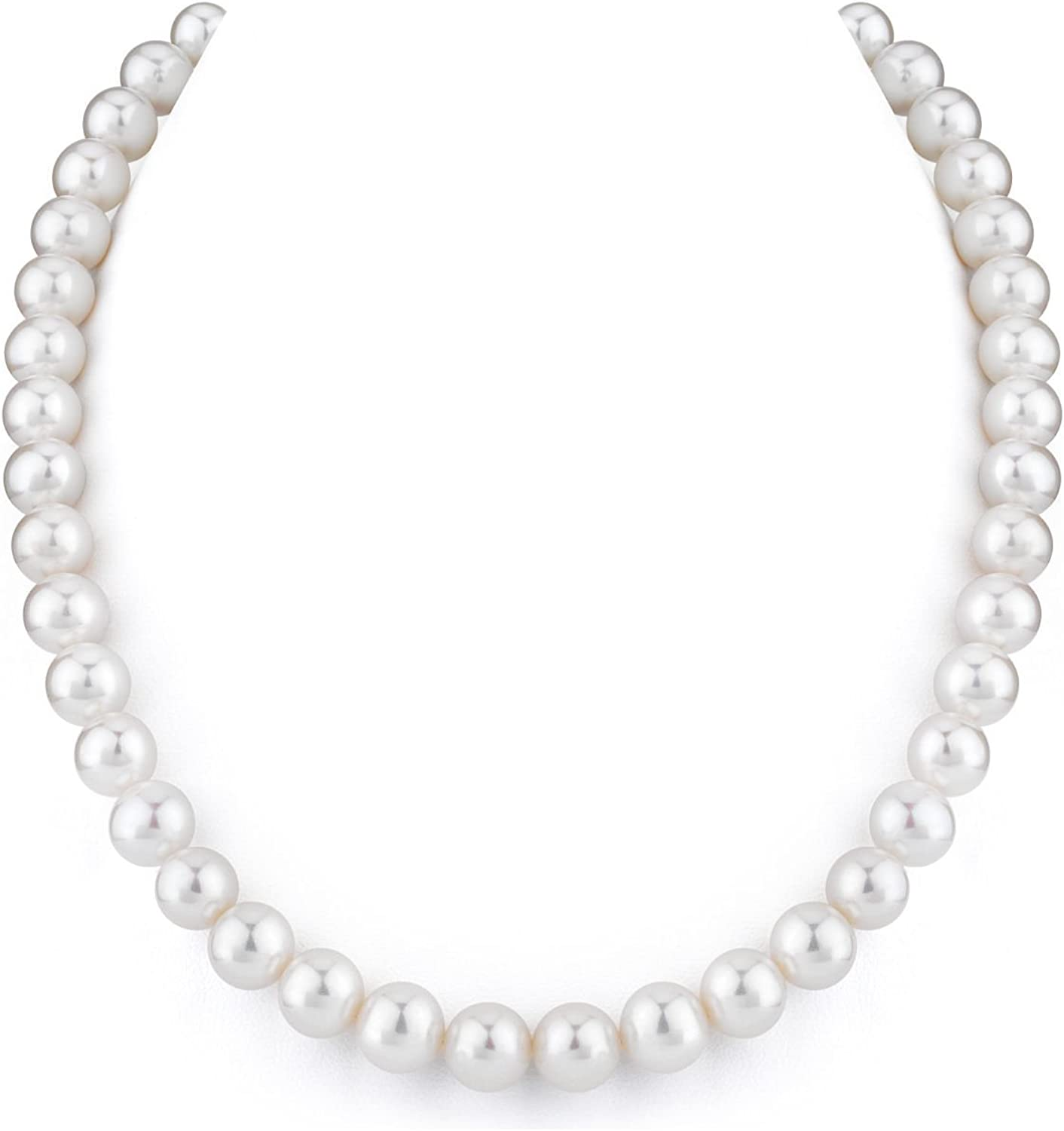 THE PEARL SOURCE 14K Gold 9-10mm AAA Quality White Freshwater Cultured Pearl Necklace for Women in 16