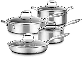 8-Piece Triply Cookware Set Stainless Steel-Triply Kitchenware Pots & Pans Set Kitchen Cookware w/ DAKIN Etching Non-Stick...