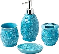 Bathroom Designer 4-Piece Ceramic Bath Accessory Set   Includes Liquid Soap or Lotion Dispenser w/ Toothbrush Holder Tumbl...
