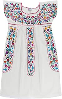 Uipil Womens Mexican Dress Fino Tehuacan Puebla Manta