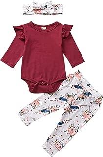 3PCS Outfits Baby Girls Ruffle Romper Bodysuit Tops Denim Jeans High Waist Pants Floral Halen Pants