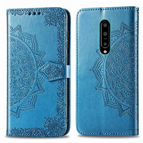 Bear Village Hülle für OnePlus 7 Pro, PU Lederhülle Handyhülle für OnePlus 7 Pro, Brieftasche Kratzfestes Magnet Handytasche mit Kartenfach, Blau