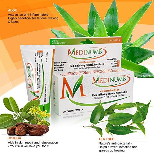 Medinumb Lidocaine Numbing Cream (2oz/56g) Topical Anesthetic - Waxing, Laser, Electrolysis & Tattoos - Soothing Aloe, Jojoba, Tea Tree - USA Made - Child Resistant Cap