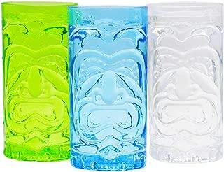 Set of 3, Screaming Tiki Cup,Luau Party Tiki Cups! Luau Shape Reusable Plastic Party Cups, Drinkware Set,BPA Free!