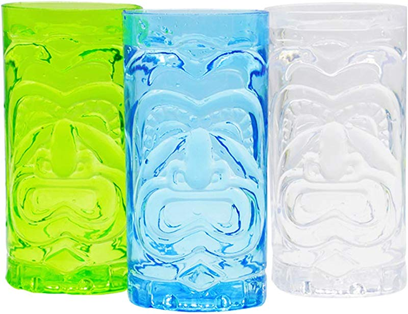 Set Of 3 Screaming Tiki Cup Luau Party Tiki Cups Luau Shape Reusable Plastic Party Cups Drinkware Set BPA Free