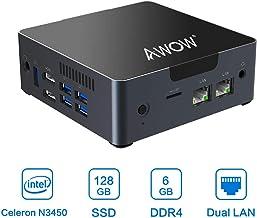 Mini PC 6GB DDR4 AWOW Desktop Computer Windows 10 Intel Celeron N3450 128GB SSD/Dual LAN/ 2.4G+5G Dual Band WiFi/4K HD/Bluetooth/HDMI