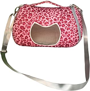 ASOCEA Pet Outgoing Carrier Bag Portable Travel Pouch with Adjustable Shoulder Strap for Hamster Cat Guinea Pig Hedgehog Squirrel Chinchilla and Small Animals Red 8.7x7.1x7 inches
