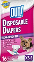 OUT! Disposable Female Dog Diapers | Absorbent Female Dog Diapers with Leak Protection | Female Dogs in Heat, Excitable Urination, or Incontinence