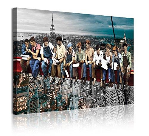 DekoArte 336 - Cuadros Modernos Impresion de Imagen Artistica Digitalizada | Lienzo Decorativo para Tu Salon o Dormitorio | Ciudades Nueva York Obreros En Viga Rockefeller Center | 1 Pieza 120x80 cm