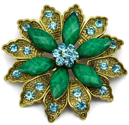 Elixir77UK Large Antique Gold Colour Flower Vintage Style Gift Pin Brooch with Green Crystals