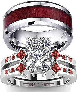 خواتم للأزواج من Ringheart بحجر قلب أحمر Cz للسيدات خاتم زفاف من التنجستن للرجال الحبيبي (يُرجى شراء حلقتين لزوج واحد)