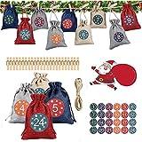 FINEVERNEK Calendario de Adviento,Set de 24 DIY Bolsa de Regalo, 24 Pegatinas Digitales, Calendario de Adviento Bolsas de Lino Bolsa de Regalo Navidad, Bolsas Pequeñas Navidad y 24 Clips de Madera