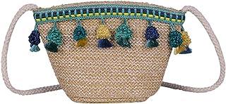 Mode Stroh Crossbody Tasche Quasten handgefertigt gewebt Strandtasche Umhängetasche (grün)